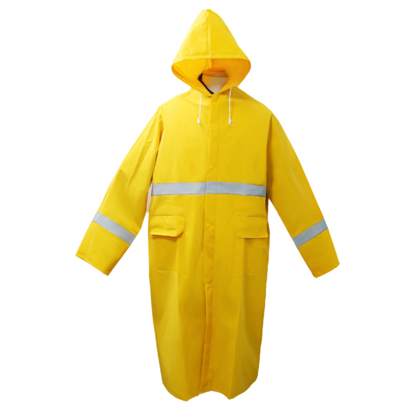 One Piece Waterproof PVC Polyester Raincoat with Reflective Stripe