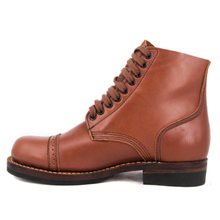 UK women's red brown full leather boots 6106