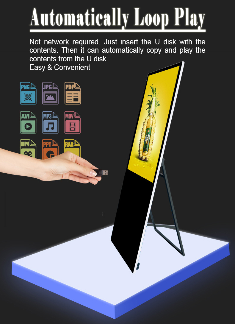 Ultrathin Portable Digital Poster LCD Display Ads Media (3)