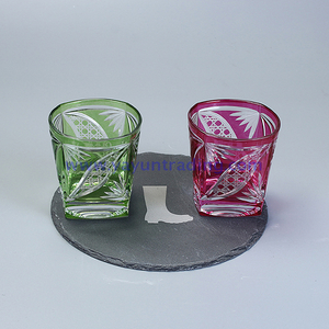 hand etched overlay square wine glass tumbler
