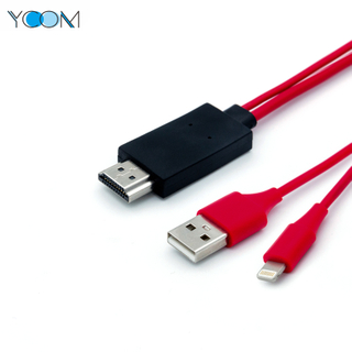 YCOM HDMI Cable To USB Charger Cable for Lightning IPhone