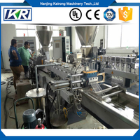 Polypropylene+Caco3 Compound Polymer Masterbatch Granulator Making Twin Screw Plastic Extruder
