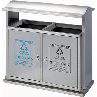 Outdoor waste can with stainless steel for railway station (HW-313)