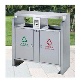 Upscale city waste can with stainless steel HW-87
