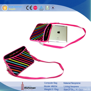 Neoprene material custom laptop computer sleeve with strip printing color
