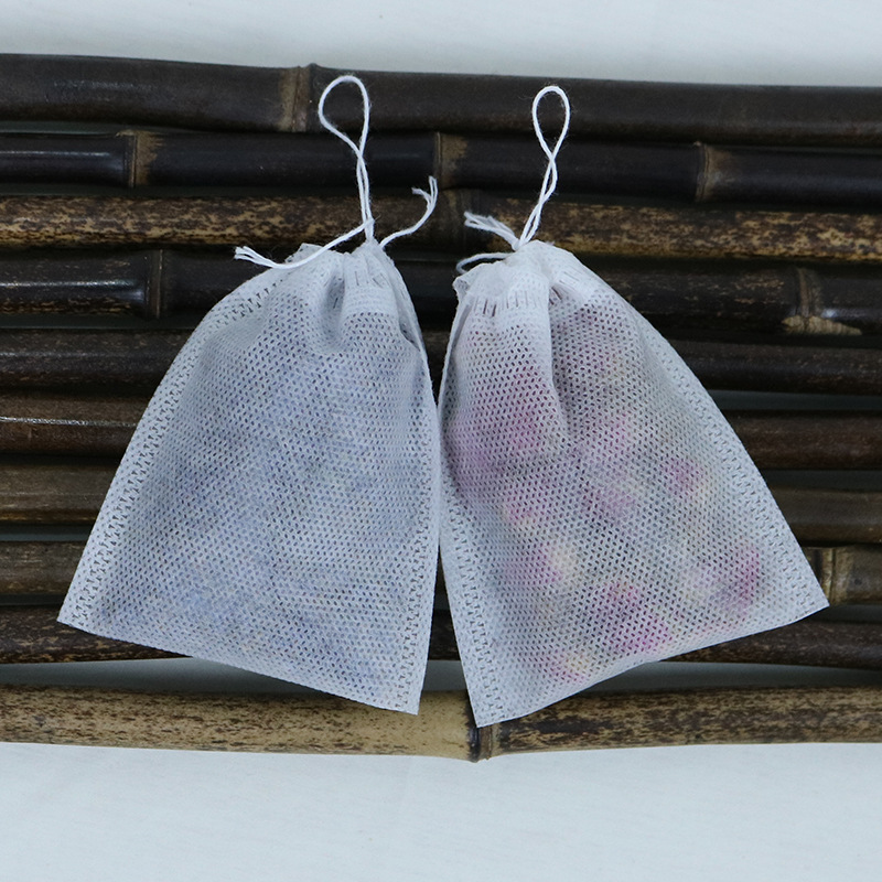 Non-woven drawn lines pull self styled filter tea bag empty