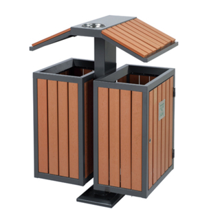 Outdoor waste can with plastic wood for Korea HW-81
