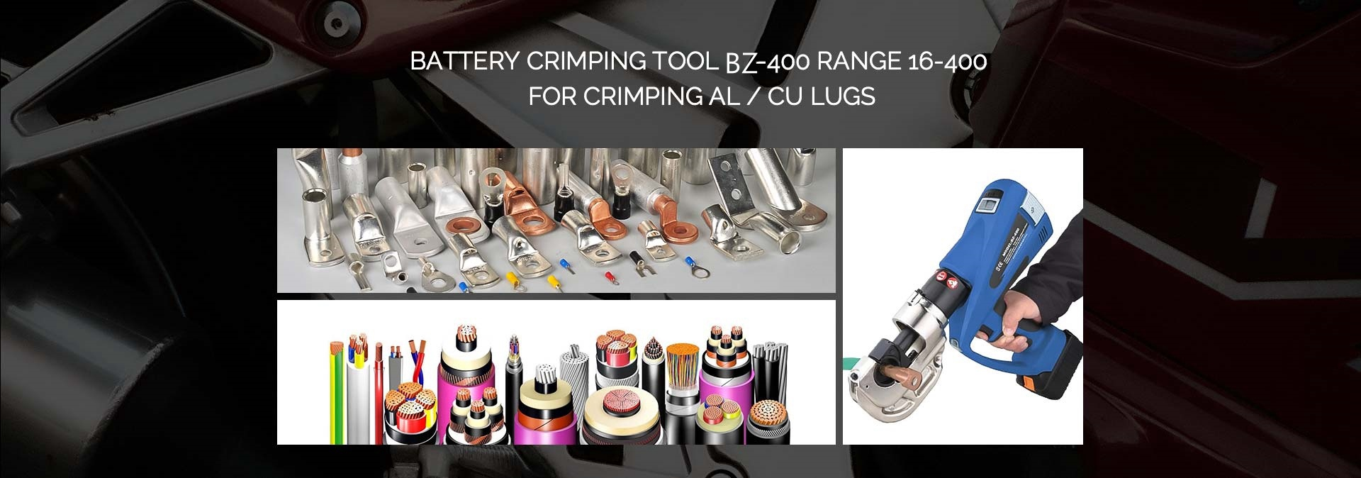 iGeelee BZ-400 Battery Powered Wire Compression Tools for CuAl Terminals range 16-400
