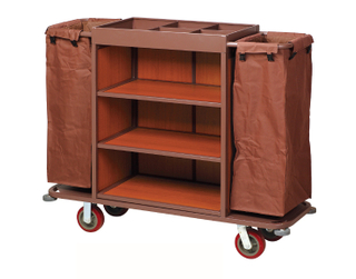 Multi-Function Three Layers Ironwood Hotel Guest Room Cleaning Linen Trolley / Laundry Trolley (FW-56)
