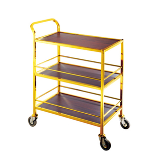 Three Tier Gold Handrail Liquor Trolley with Wheels for Hotel and Restaurant Wine Service (FW-55)