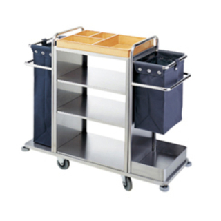 Maid Cart Stainless Steel Hotel Handrail Linen Trolley Cleaning Cart with Separate Fields (FW-58)