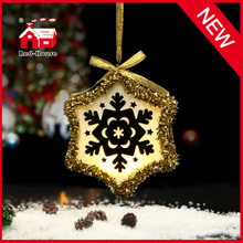 Holiday Decoration Glass LED Hanging Snowflake