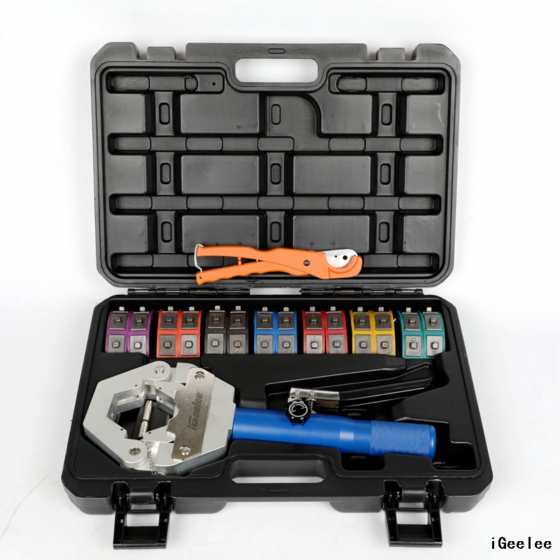 iGeelee® Hydraulic A/C Hose Crimping Tool Kit IG-71500 for Car Repair on Barbed And Beaded Hose Fittings