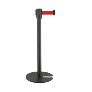Black Painted Crowd Control Barrier Posts with Retractable Belt for Airport(LG-23)
