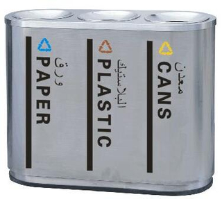 three-way classification waste can with stainless steel HW-168