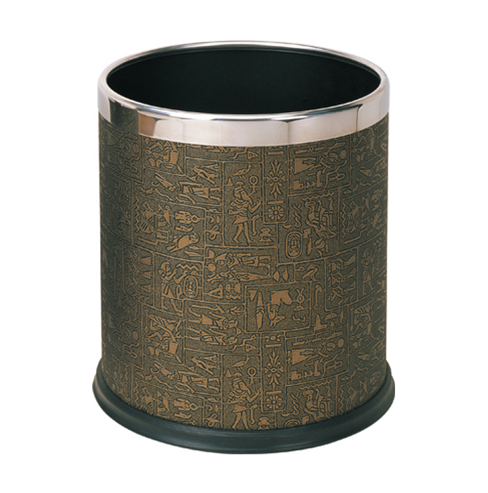 Rounded trash bin with leather cover KL-06P