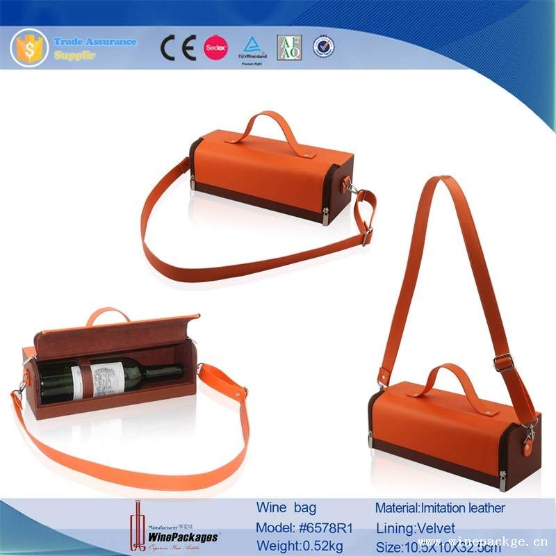Unique design wholesale reusable wine bag in box with shouder leather belt