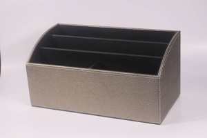 Grey Shinny Pu leather high quality custom office desk top box