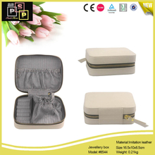 White Color PU leather Travel Style Zipper Jewellery Box