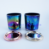 Colorful ion plating iridescent glass candle jars 8oz empty candle vessels with gold rose gold black lids