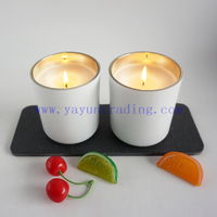 cheaper price matte white candle jars 12oz gold electroplated inside candle tealight holders cup with candle wax