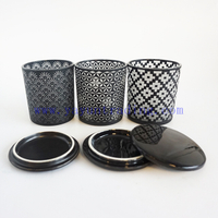 6oz hot sale laser cut black frosted glass candle holders unique candle vessels with black ceramic lids