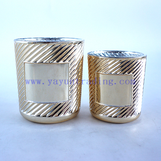 Different Size Empty Cylinder Popular Classical Gold Round Glass Candle Jar