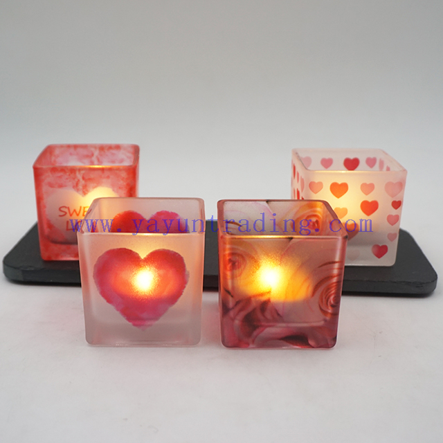 4oz 120ml Personalized Hearts Matte Square Valnetine's Day Glass Candle Tumbler