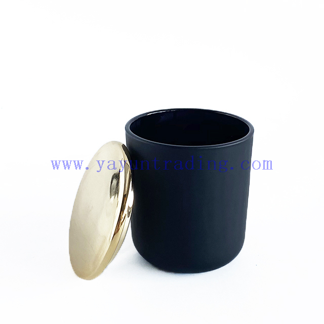 Customized Glass Candle Holder With Gold Ceramic Lid