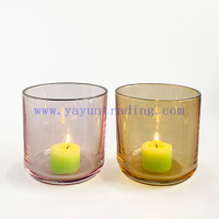 Wholesale Machine Made Shiny Candle Jar Silver Rim Glass Candle Holder
