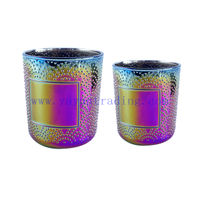 380ml Empty Round Iridescent Electroplated Glass Candle Tumbler