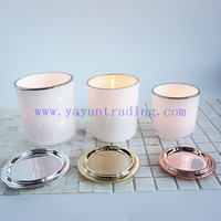 250ml 395ml 480ml gold silver rim for white candle holder glass luxury candle vessels with lids