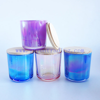 iridescent glass candle jars 8oz ion electroplated candle tealight holders multi-colors with wooden lids