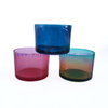 450ml Colorful Translucent Cylinder Tumbler Glass Candle Holder with Wooden Lids