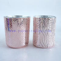 200ml 300ml Electroplated Rose Gold Mercury Glass Candle Cup with Leaf Pattern