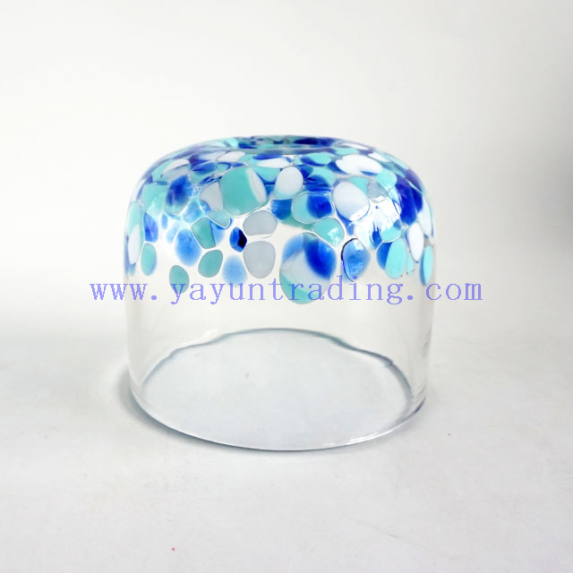 Yayun new design handmade clear glass candle jar with unique white and blue spots 17oz
