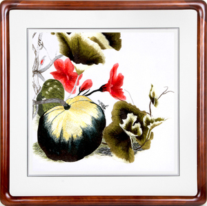 Watercolored Embroidery Painting of Pumpkin for Restaurant