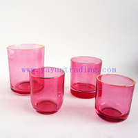 wholesale 600ml 300ml 250ml 180ml gold silver rim empty translucent pink glass jar candle holders