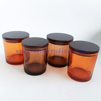 wholesale votives candle jars 12oz amber candle containers holder with wood lid for Christmas