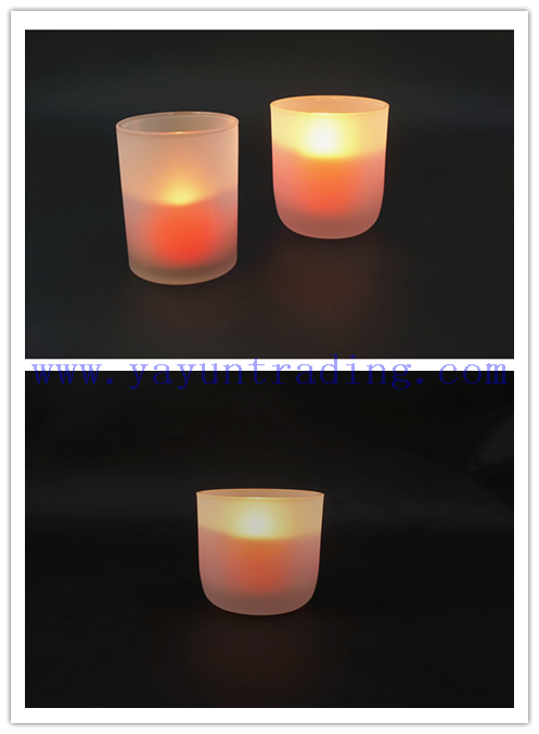 260ml Round Bottom Gift Decorate Frosted Translucent Glass Candle Jar