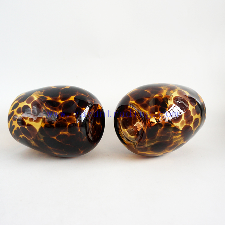 Yayun New design egg shape amber tortoise candle jars empty glass ball tealight holder 16oz for wedding centerpieces