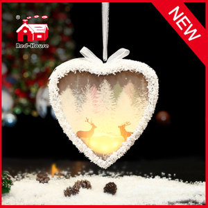 Factory Price White Heart Shape Hanging Glass Ornaments
