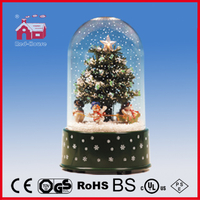 18030os revolving snowing christmas decoration with transparent case