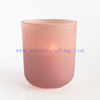 Delicate Frosted Pink Round Empty Glass Candle Votive Jar with Lid for Decoration