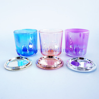 Luxury decorative custom colors ion plating glass candle holders jar 8oz with luxury ceramic lids