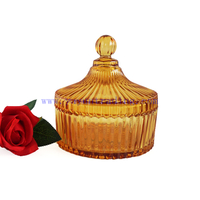 New Type Dome Jar Candle Mongolian Yurt Amber Candle Holder 17oz with Dome Lid