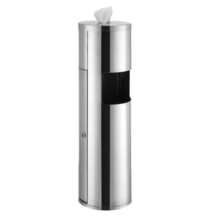 Club Wipes Stainless Steel Wipes Dispenser with Built-in Trash Can Gym Wipes Wipe Dispenser Stand