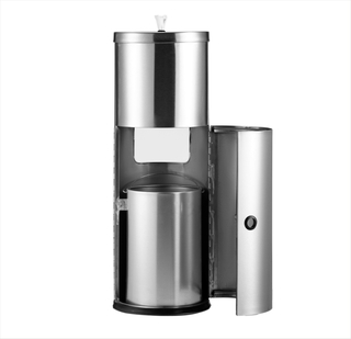 Rounded Stainless Steel Standing Gym Wipes Dispenser In Stock