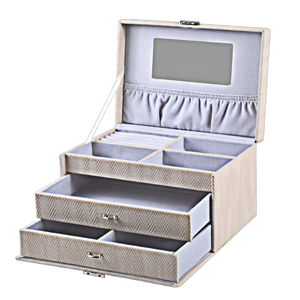 Custom Craft Girls' Wooden Leather Jewelry Box with Drawer for 3 Layer with Mirror