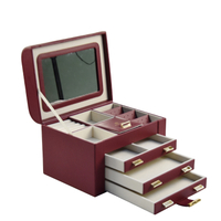 Mirrored Multi Drawers Pu Leather Larger Capacity Jewelry Box with Handle